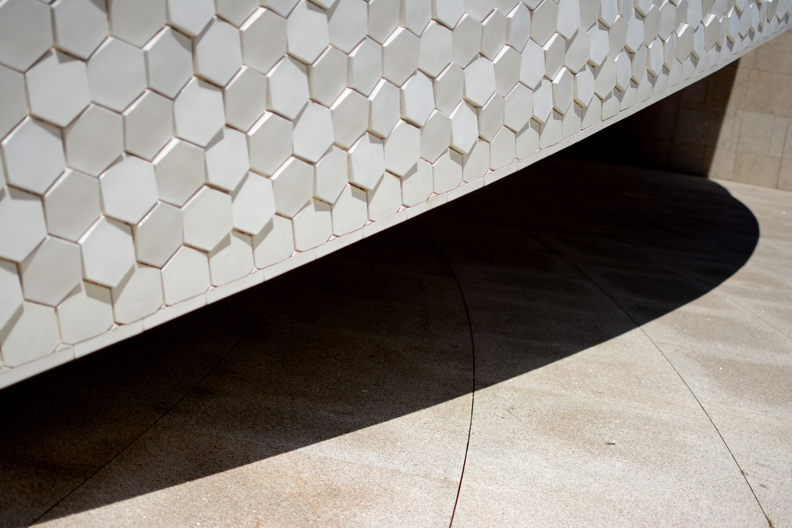 pattern, indoors, tiled floor, shadow, high angle view, flooring, sunlight, built structure, close-up, wall - building feature, no people, design, architecture, day, empty, tile, modern, repetition, geometric shape, shape