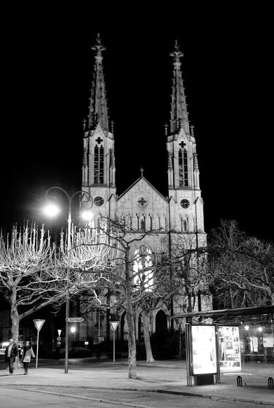 Religion Spirituality Place Of Worship Night Architecture Building Exterior Built Structure Travel Destinations Illuminated Outdoors Façade Sky Bare Tree Tree No People City Baden-Baden Baden Baden Germany GERMANY🇩🇪DEUTSCHERLAND@