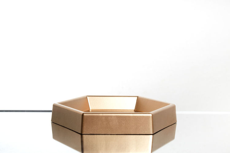 High angle view of empty box against white background