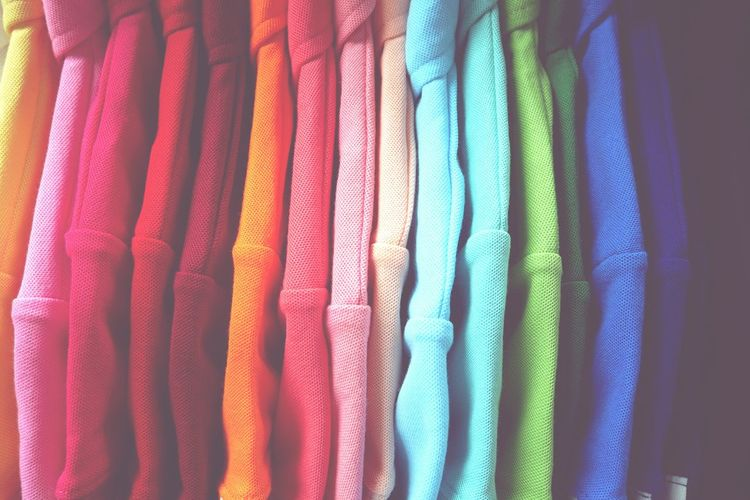 Full frame shot of colorful clothing for sale in store