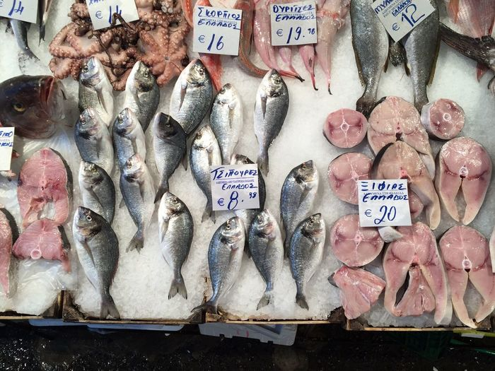 High angle view of fishes on ice for sale at fish market