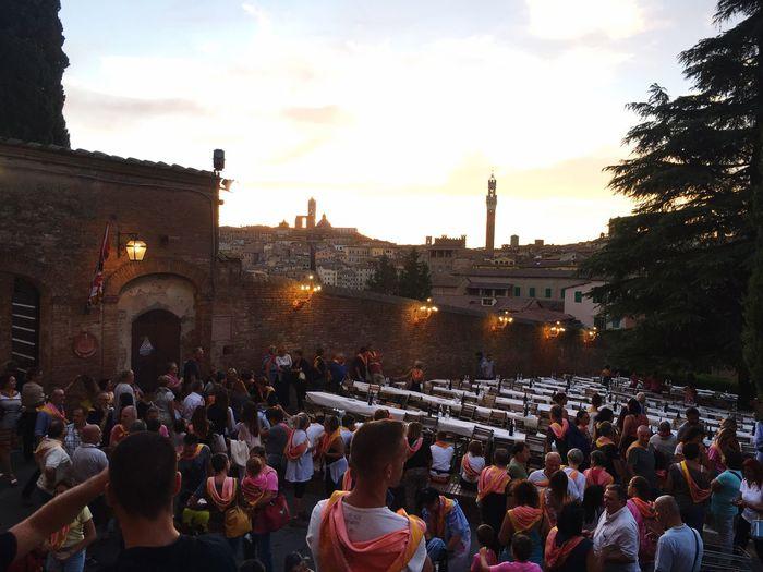 Tuscany Italy Piazza Del Campo Siena Valmontone Contrada Palio Di Siena August