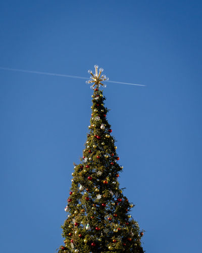Low angle view of christmas tree against clear blue sky