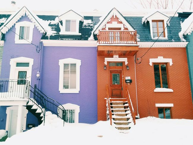 Lilac and Red. Houses House Portrait Colourful Winter Vscocam