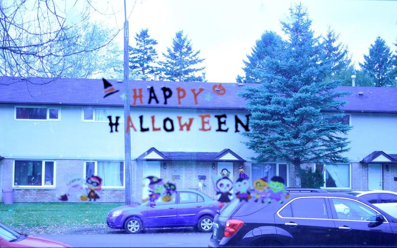 happy halloween Fall Building Exterior Day Land Vehicle Outdoors Transportation Tree Window Stickers