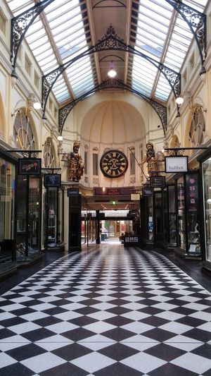 Melbourne Indoors  Architecture Arch Day Arcade Shopping ♡ Shopping Clockface Monocrome Tiles Floor Glassroof Stunning PicturePerfect Metalwork Signs Retail  Text