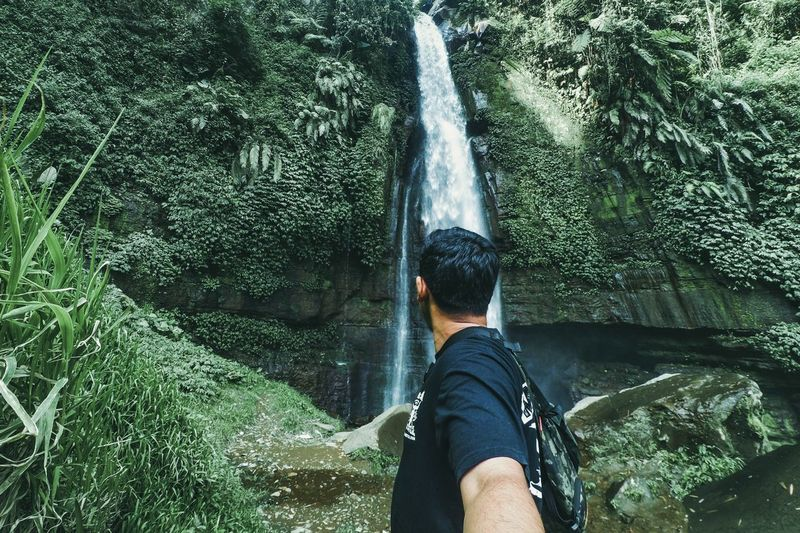 me and nature Water Low Section Men Adventure Human Leg Motion High Angle View Personal Perspective Long Exposure Waterfall Flowing River