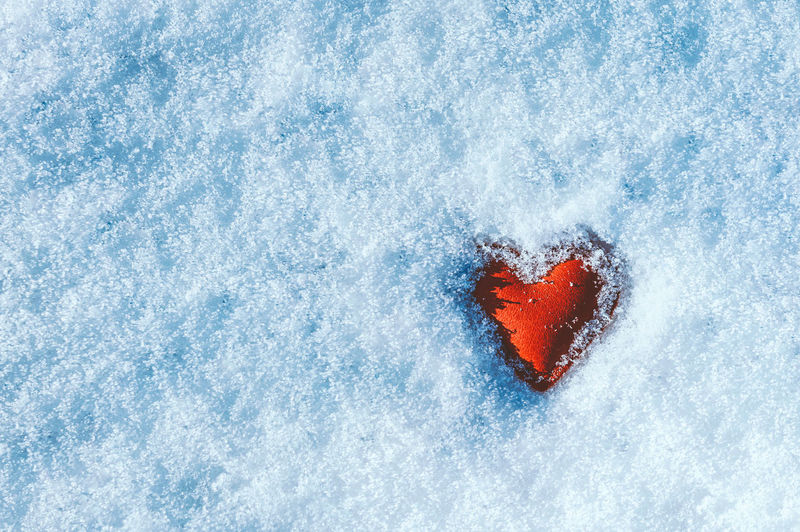 Directly above shot of heart shaped on snow