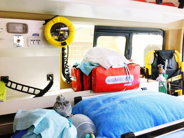 Transportation Headwear No People Indoors  Day Ambulance Save Life Help Health Care Medicine Medical Equipment Oxygen Suction Strechers