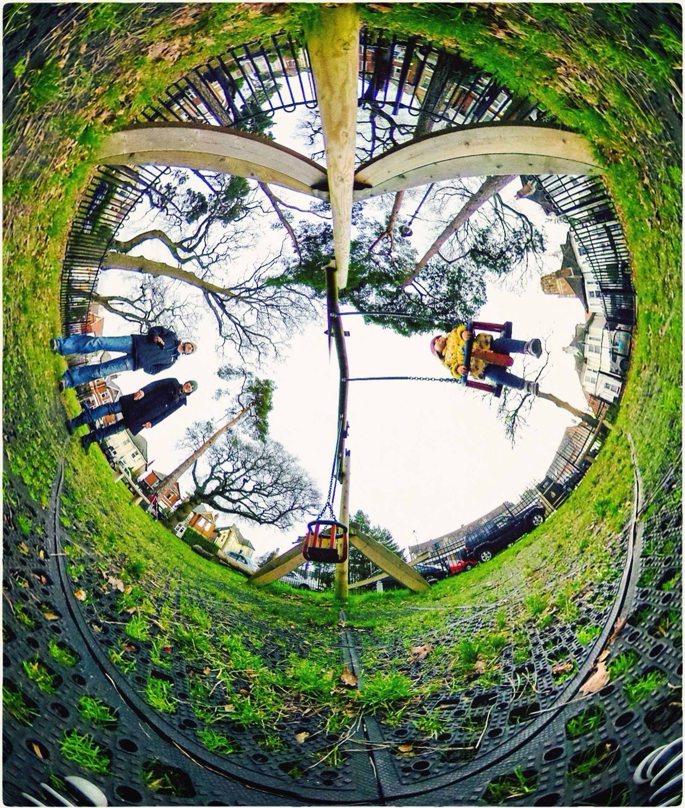 transfer print, leisure activity, circle, lifestyles, auto post production filter, bicycle, men, grass, amusement park, day, wheel, plant, field, green color, geometric shape, outdoors, tree, amusement park ride