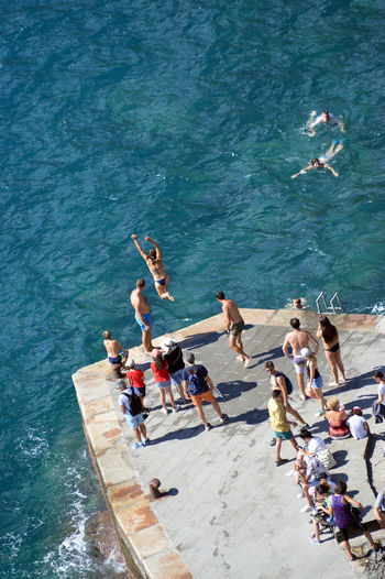 High angle view of people swimming in pool