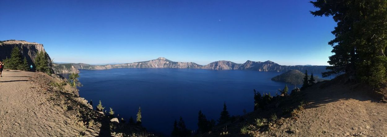 Crater Lake ... Crater Lake National Park Beauty In Nature Blue Clear Sky Day Landscape Mountain Mountain Range Nature No People Outdoors Panoramic Physical Geography Rock - Object Scenics Sky Tranquil Scene Tranquility Travel Destinations Tree Water