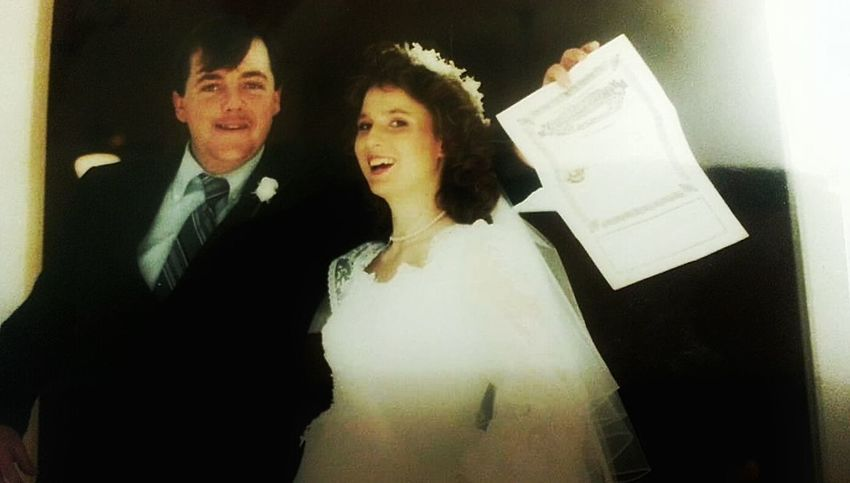 Found On The Roll 1988 Wedding Wedding Photography Wedding Day Old School Happy Day It's Me Wedding Dress White Wedding Formal Wear Suit And Tie Blushing Bride The Ole Ball And Chain My Hubby My Love Old Picture Man And Wife Everyday Emotion