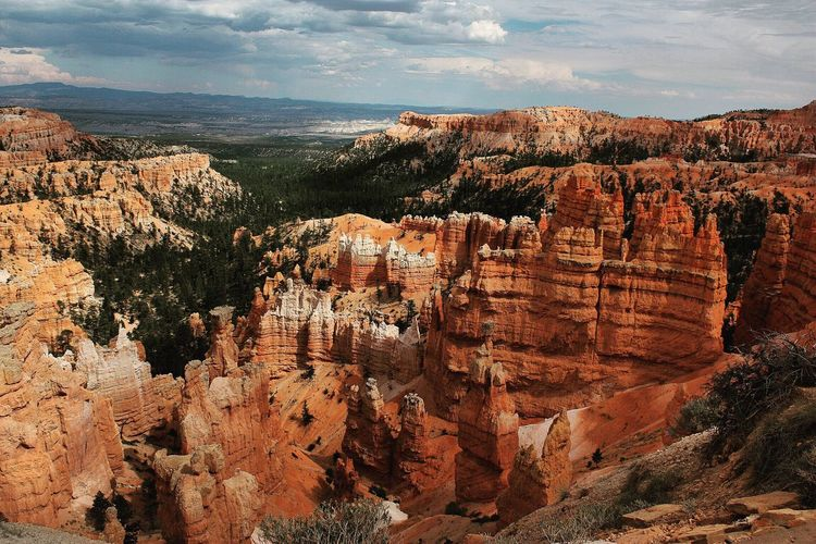 Scenic view of rocky mountains against sky at bryce canyon national park