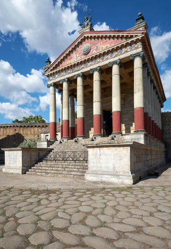 Roman temple, reconstruction Ancient Ancient Civilization Archaeology Architectural Column Architecture Belief Building Building Exterior Built Structure Cloud - Sky Day History Nature No People Old Outdoors Place Of Worship Religion Sky Staircase The Past Tourism Travel Travel Destinations