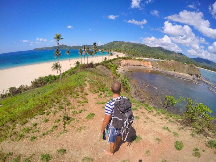 Exploring Nacpan Beach Beach Blue Clouds Exploring Holiday Mountain NOMAD Nomadic Nomadiclife Palms Paradise Philippines Sea Sky Traveling Vacations World