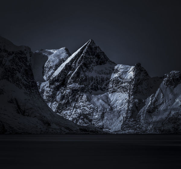 Lofoten Islands Norway Astronomy Beauty In Nature Clear Sky Cold Temperature Day Landscape Mountain Mountain Range Nature No People Outdoors Scenics Sky Snow Snowcapped Mountain Tranquil Scene Tranquility Winter