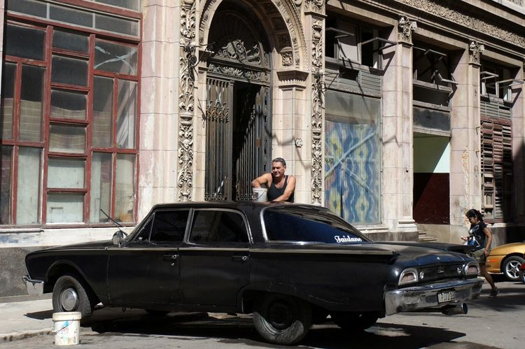 Architecture Black Building Exterior Built Structure Car Car Wash Cuba Cuba Collection Cuban Cars Day EyeEm Gallery Havana One Person Outdoors People Street Photography Street View Streetphotography Transportation Vintage Vintage Cars Vintage Style Washing