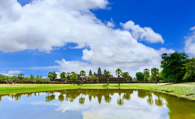 Angkor Wat in Siem Reap, Cambodia. Ankorwat Architecture Beauty In Nature Blue Building Exterior Built Structure Cambodia Cloud - Sky Day Lake Nature No People Outdoors Reflection Scenics Siemreap Sky Tranquil Scene Tranquility Travel Destinations Tree Water Waterfront
