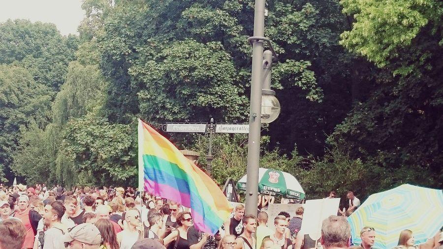 CSD Berlin Siegessäule  Großer Stern Prideparade 2016 Party Rainbowflag People Demo Sun 🌞