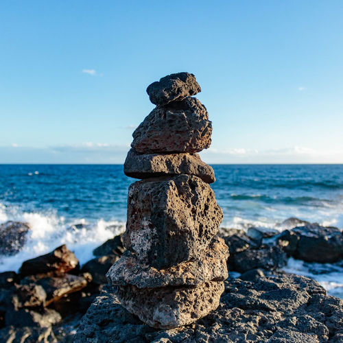 Rock Stack in Lanzarote, Canary Islands, Spain. Escapism Minimal Minimalism Mediation Mindfullness Meditate Balance Beach Carefree Escapism Freedom Meditation Nature Ocean Outdoors Peace Perfect Balance Relaxation Rock Rock - Object Rock Formation Rough Sea Shore Stone Stone - Object Tranquil Scene Tranquility Stone Art Balancing Act