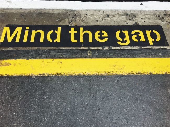 Mind The Gap London England Yellow Safety Warning Sign Communication Protection Text Cordon Tape Danger Crime Scene Day Outdoors No People Close-up IPhoneography EyeEm LOST IN London