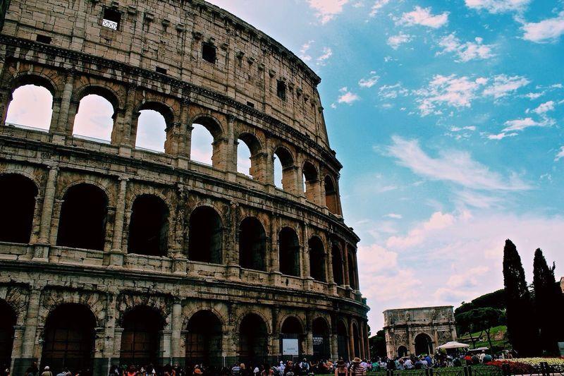 Exterior of the colosseum against sky