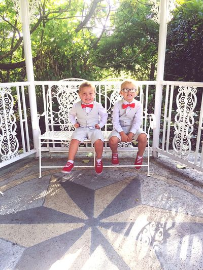 Childhood Togetherness Boys Park - Man Made Space Fun Littleboys Littledudes Pose Matching Outfits Redbowtie Bow Ties Red Shoes Red Pumps VerandaInnocence Giggles