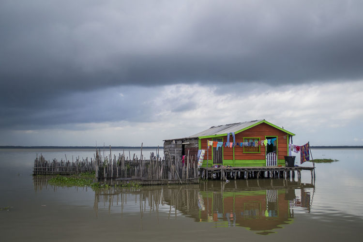 Beautiful Nikon Swamp Beauty In Nature Casa En El Agua Ciénaga Cloud - Sky Colorful House On Water Nikonphotography No People Outdoors Reflection Scenics - Nature Water Waterfront Caribbean This Is Latin America