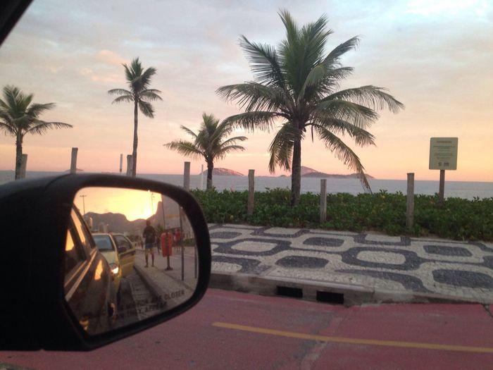 Ipanema Coast Calçadão Burle Marx Sunset Mirror Retrovisor
