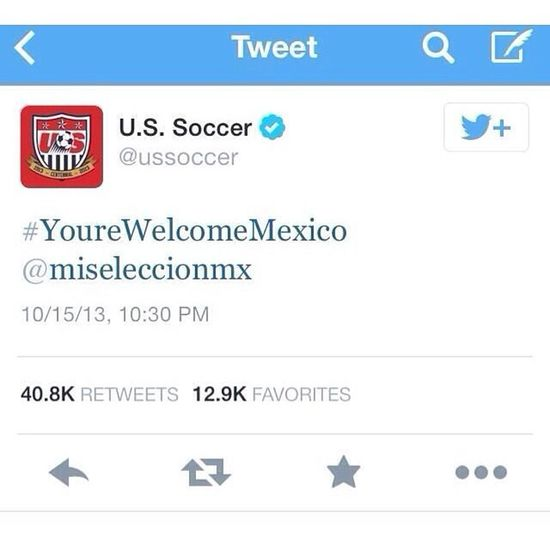 Mexico sureeee loves USA right now ... And Ussoccer team says Yourewelcomemexico *sigh* But of course now it's been removed on Twitter smh