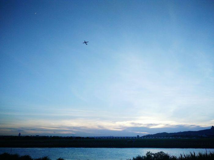 Airplane Take Off Sky River