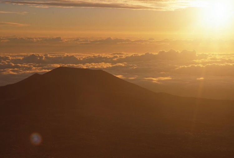"""Sunset above the clouds"" Hawaii Life Clouds High Altitude Inspirational Mountain Sky Sunset Volcano Cone"