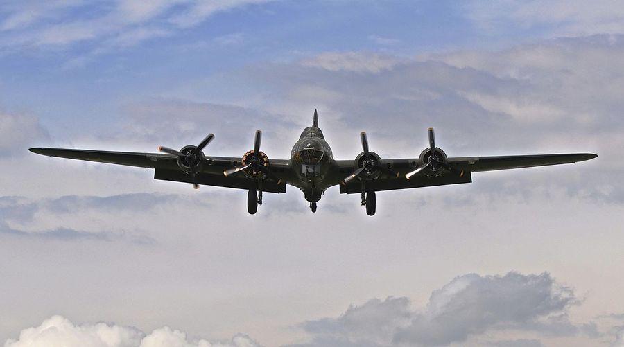 B 17 bomber jet in cloudy sky