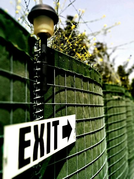 Fence Exit Sign Barbed Wire Spring