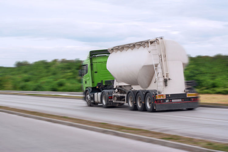 View of truck on road
