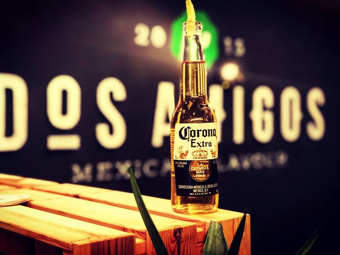 MEXICAN FLAVOR Corona Saarbrucken Germany Backlight Mexico Food Text Focus On Foreground No People Communication Close-up Indoors  Building Exterior First Eyeem Photo