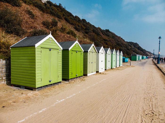 Green beach huts