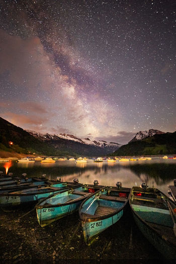 Astronomy Beauty In Nature Cloud - Sky Lake Land Milky Way Mode Of Transportation Moored Mountain Nature Nautical Vessel Night No People Outdoors Scenics - Nature Schwyz Sky Star - Space Tranquil Scene Tranquility Transportation Water Wägitalersee