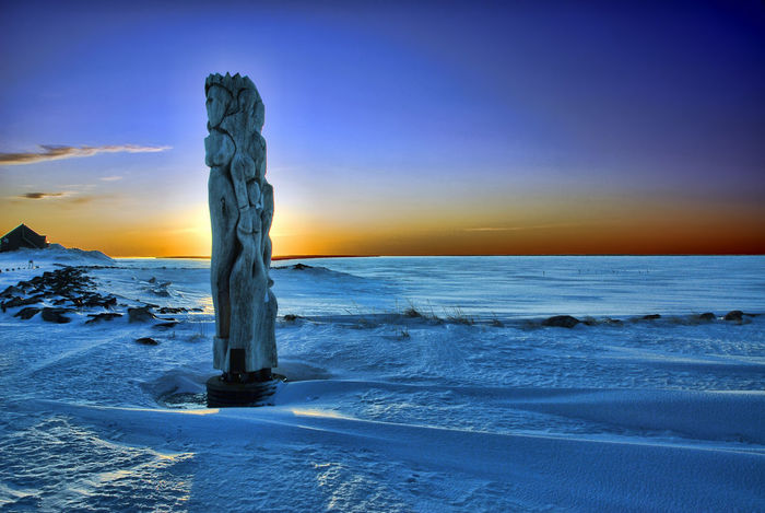 Beauty In Nature Canada Caraquet New Brunswick, Canada No People Sky Snow Sunset Totem Pole Winter