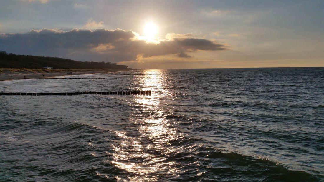 Beach Sunset Sunny Day Baltic Sea