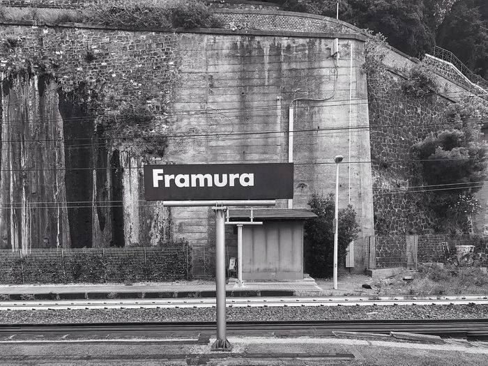 You Are In Framura Liguria,Italy Railroad Track Signage Architecture Framura No People Outdoors Railroad Tunnel Text Tree Travel Destination
