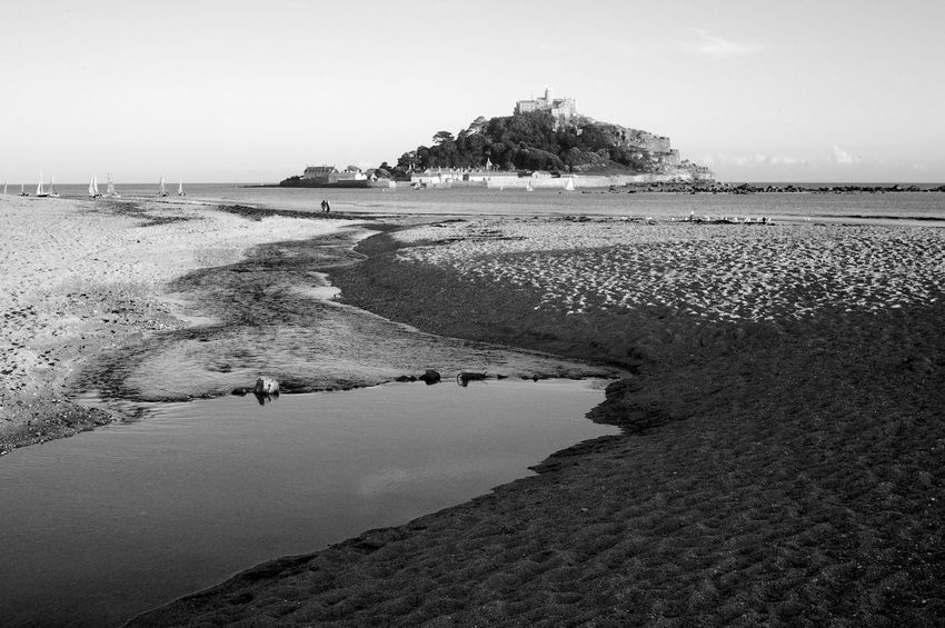 St Michael's Mount St Michael's Mount Beach Blackandwhite Coastline Holiday Incidental People Land Outdoors Sand Scenics - Nature Sea Sky Tranquil Scene Tranquility Vacations Water