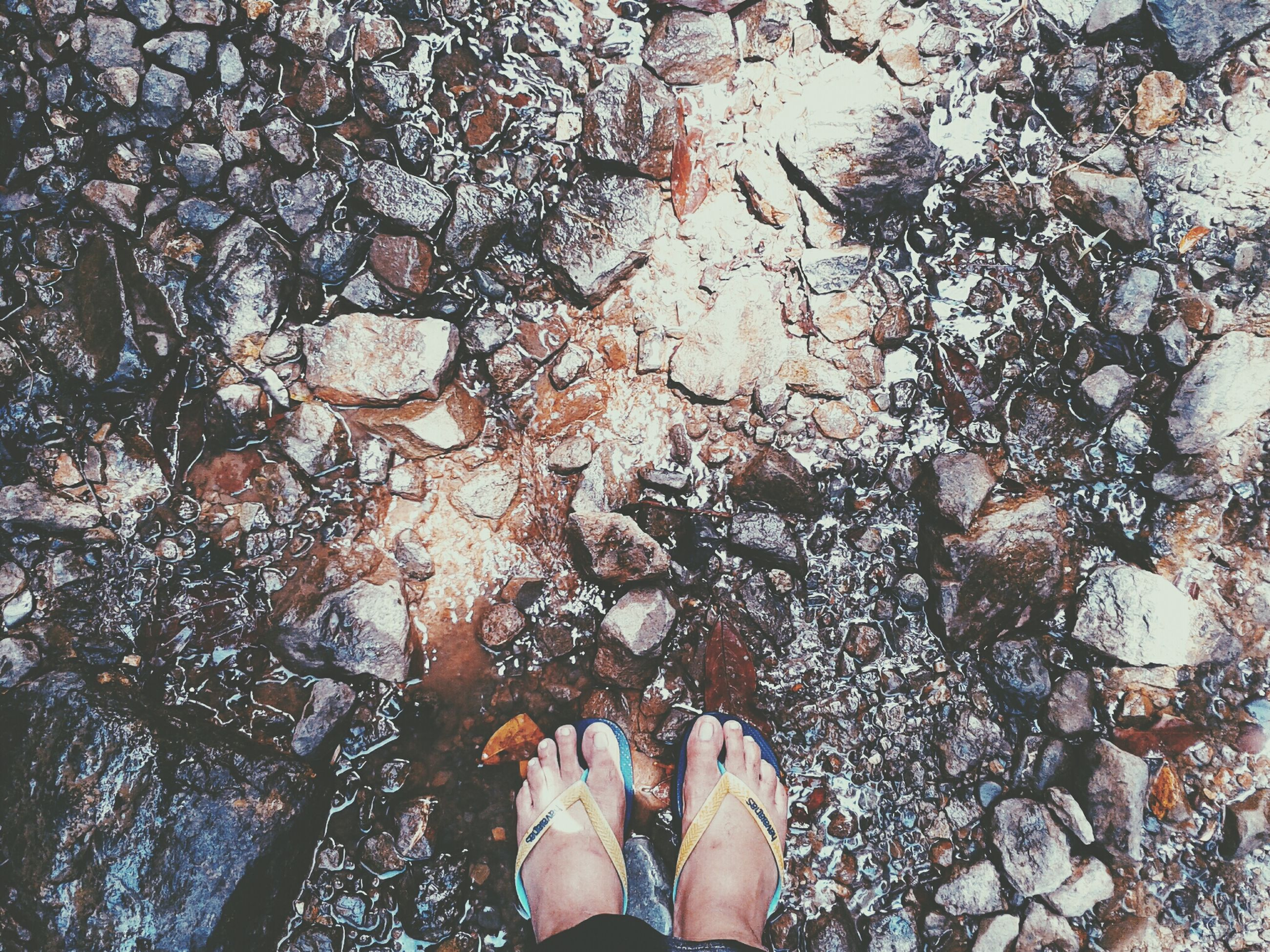 low section, person, personal perspective, lifestyles, standing, leisure activity, human foot, water, high angle view, shoe, men, unrecognizable person, barefoot, nature, day, outdoors