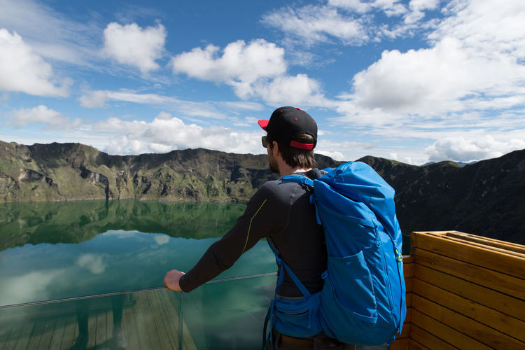 Backpack Crater Crater Lake Day Dude Ecuador Enjoying The View Hiker Hiking Lake Leisure Activity Man Mountain Mountain View One Person Outdoors People Quilotoa Quilotoaloop Real People Scenics Sky View Point Volcano Young Adult The Great Outdoors - 2017 EyeEm Awards Let's Go. Together. Lost In The Landscape Second Acts This Is Latin America