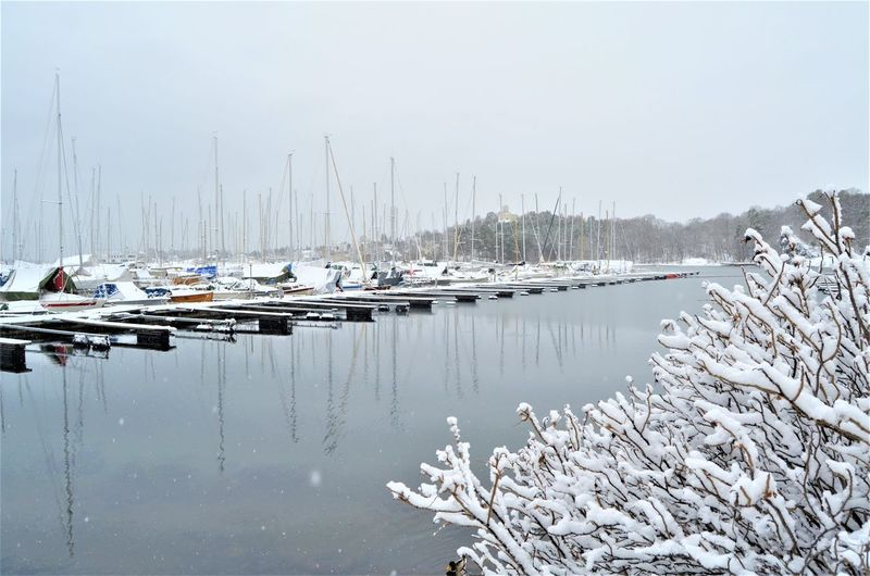 Water Nautical Vessel Mode Of Transportation Moored Sailboat Transportation Day Reflection Nature No People Sky Harbor Cold Temperature Scenics - Nature Beauty In Nature Mast Lake Winter Tranquility Yacht Marina Port