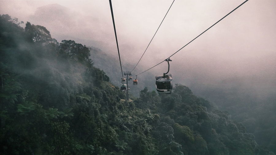 Overhead cable car on mountains