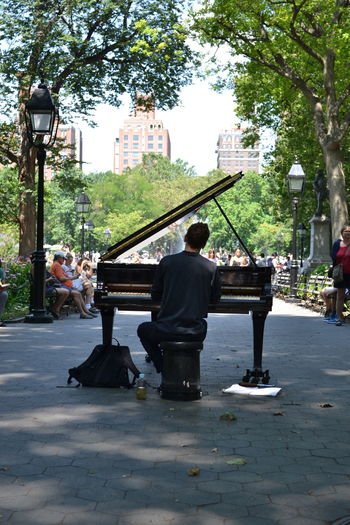 Washington Square The Village NYC LIFE ♥ Fountain Washington Square Park Greenwich Village NYC Piano Playing Piano Battle Of The Cities New York Street Photography