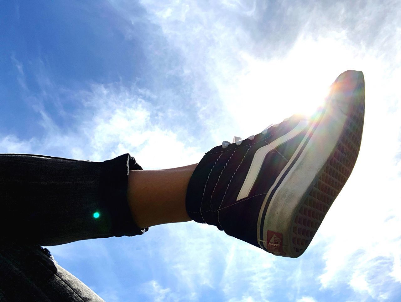 sunbeam, sky, lens flare, low angle view, cloud - sky, sun, sunlight, human hand, one person, day, outdoors, real people, human body part, men, close-up, young adult, people