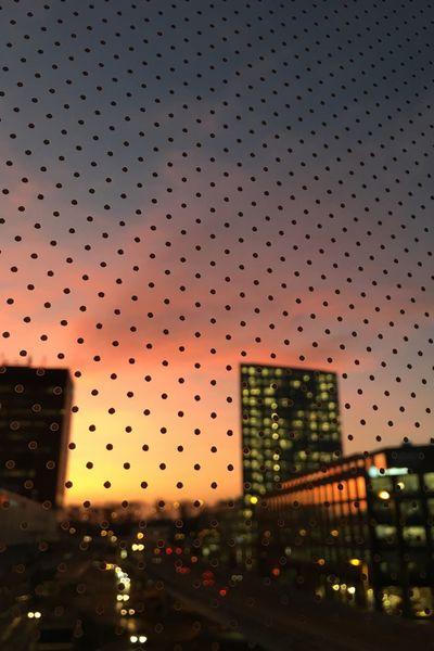 Sunset Focus On Foreground Dots Office Building Glattzentrum Allianz